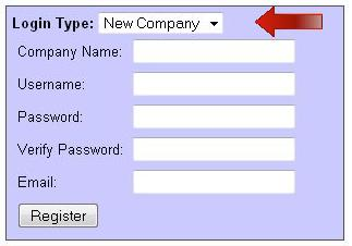 New Company registration on Home Page