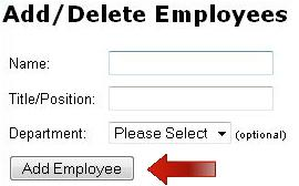 Add new employees on 'Employees' page